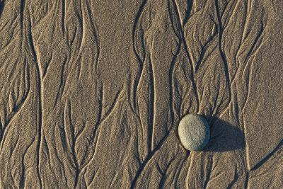 Flowing Water Creates Intricate Patterns in the Sand on a Southern California Beach