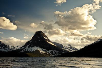 Glacier, Montana: the Sun Setting over Sinopah Mountain at Two Medicine Lake