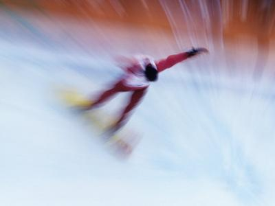 Blurred Action of Snowboarder, Nagano, Japan