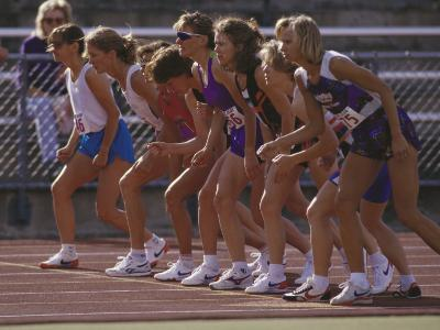 Female Runners at the Start of a Track Race