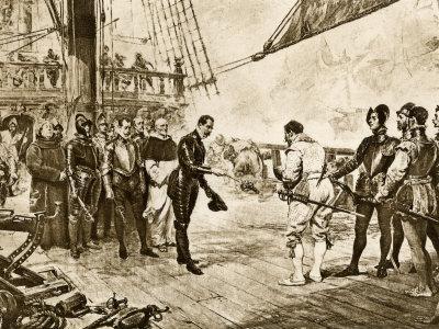 Spanish Armada's Admiral Surrenders His Sword to Francis Drake, c.1588