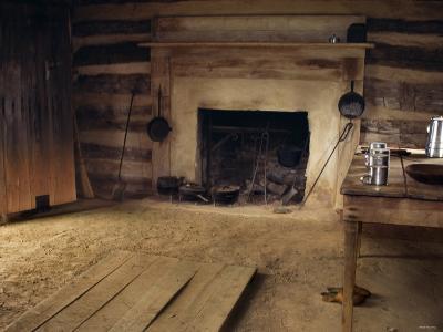 Interior of Slave Cabin Where Booker T. Washington was Born, Burroughs Tobacco Plantation, Virginia