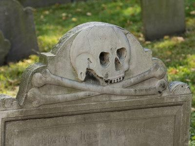 Skull and Crossbones on a Gravestone in the Old Granary Burying Ground, Boston, Massachusetts