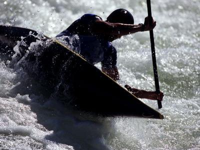 Silhouette of Kayaker in Action, Sydney, Austrailia