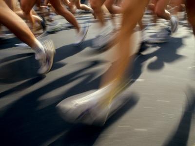 Detail of Runners Legs in Aroad Race