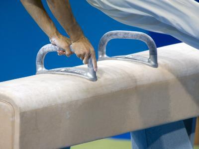 Detail of Male Gymnast Competing on the Pommel Horse, Athens, Greece