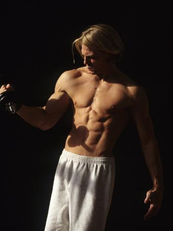 Man Working Out with Hand Wieghts, New York, New York, USA