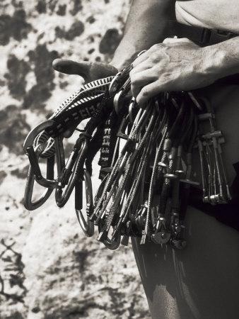 Detail of Hands with Climbing Equipments