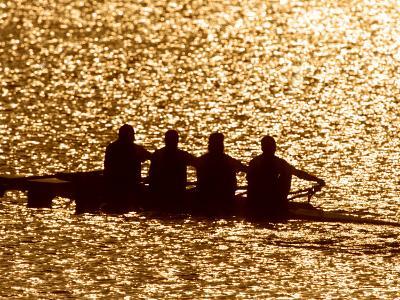 Silhouette of Men's Fours Rowing Team in Action, Atlanta, Georgia, USA