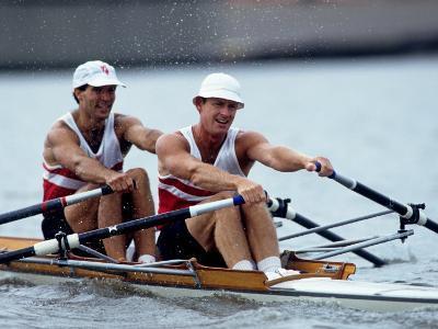 Men's Pairs Rowing Team in Action, Vancouver Lake, Washington, USA