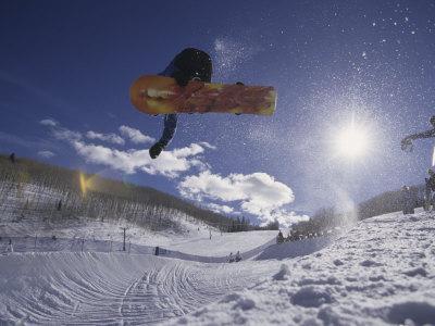 Snoweboarder in Action on the Vert, Aspen, Colorado, USA