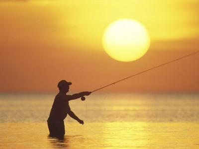 Fly Fisherman at Sunrise, Keys, Florida, USA