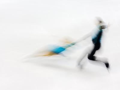 Blurred Action of Pairs Figure Skaters, Torino, Italy