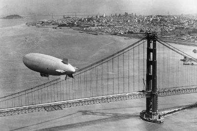 Airship over the Golden Gate Bridge in San Francisco, 1937
