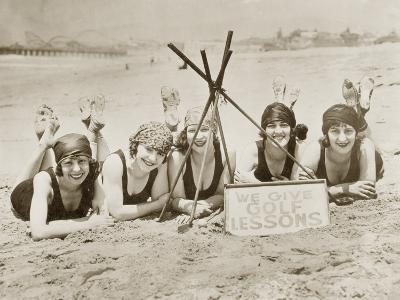 Women on a Beach in California, 1927