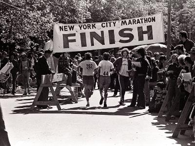 Runners Approaching the Finish Line in Central Park. During the 1972 New York City Marathon