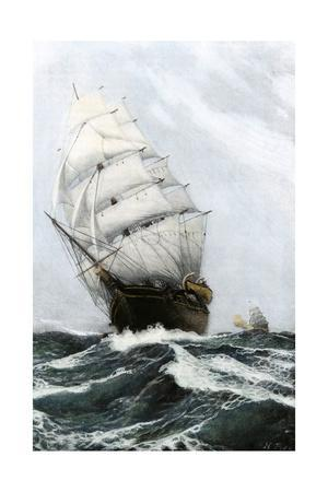 Clipper Ship Caribee, Famous for Speed, Built in Maine in 1852