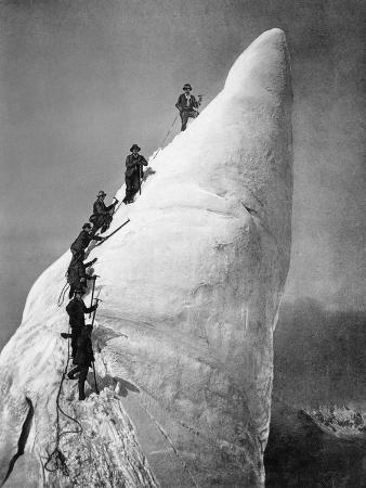 Ascent of an Ice Tower in the Alps