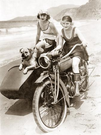 Women Drive a Motorcycle with a Sidecar, 1930