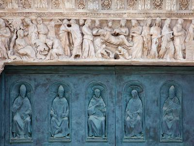 Italy, Siena, Siena Cathedral, Decorated Bronze Door and Sculptured Lintel