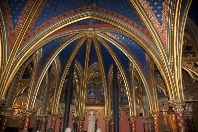 France, Paris, Notre Dame Cathedral, Lower Church, Apse, Ribbed Vaulted Ceiling