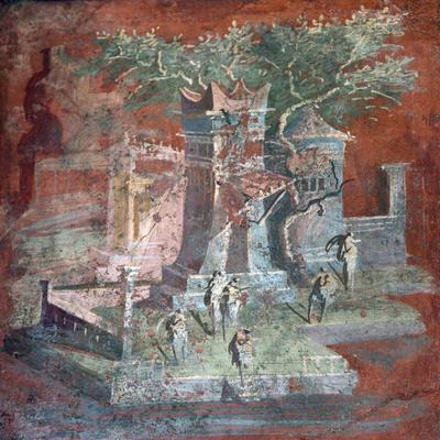 Italy, Naples, Naples Museum, from Pompeii, Illustration with Landscape, The Porticus