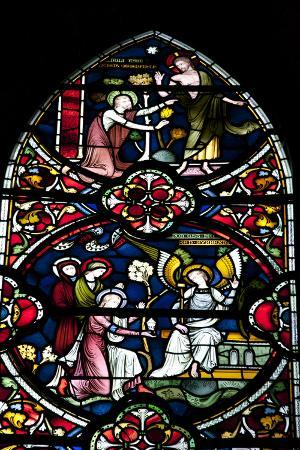 England, Salisbury, Salisbury Cathedral, Stained Glass Window, Scenes from The New Testament