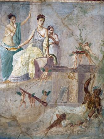 Italy, Naples, Naples Museum, from Pompeii, Prince of Montenegro House VII, Hercules and Omphale