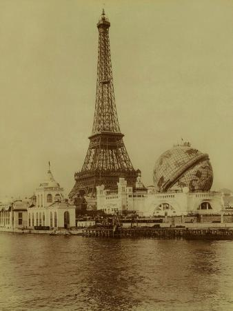 Paris, 1900 World Exhibition, The Eiffel Tower and the Grand Globe Céleste