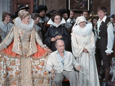 Louis de Funès,, Yves Montand and Alice Sapritchshooting Picture: La Folie Des Grandeurs, 1971
