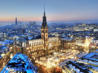 Town Hall and Christmas Market in Hamburg