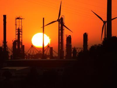 Sunset and Industrial Plants