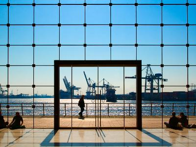 People Strolling at Hamburg Harbour Modern Architecture