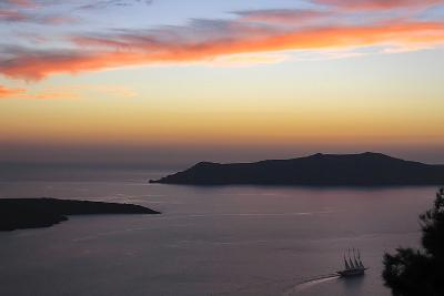 Sunset on the Caldeira of Santorini, Greece