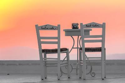 Chairs of the Café of the Hotel Galini in Firostefani, Santorini, Greece