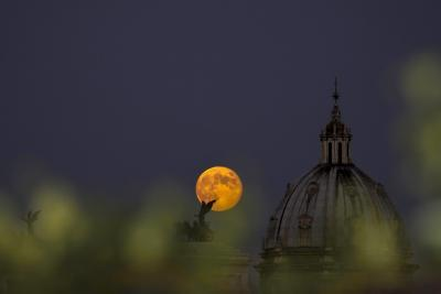 Moonrise Seen from a Hotel, Rome, Italy