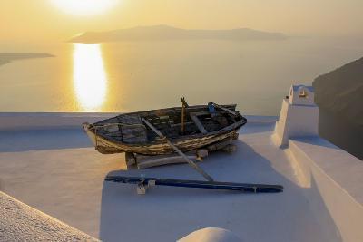 Boat on Rooftop, Santorini, Greece