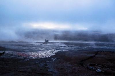 Smokes from the Geyser El Tatio, Atacama Desert, Chile and Bolivia