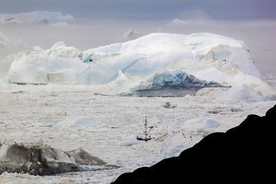 A Boat Sailing on the Pack Ice, Disko Bay, Ilulissat, Groenland