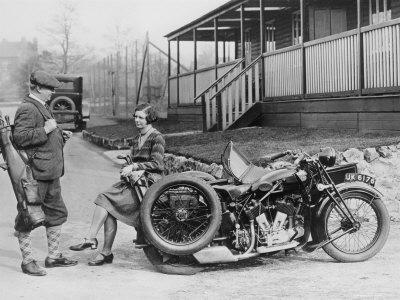 Golfers with 1939 AJS Motorcycle and Sidecar