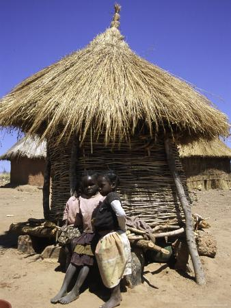 Children by Straw Huts, South Africa