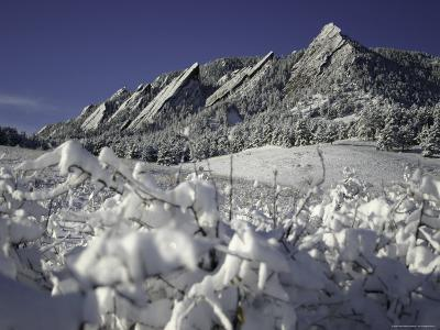 Winterscene of the Flatirons in Boulder, Colorado