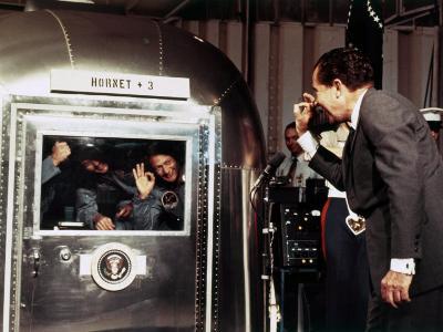 US President Richard Nixon aboard Aircraft Carrier USS Hornet, on July 24, 1969