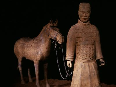 Standing Warrior Wearing Breastplate, with Chariot Horse
