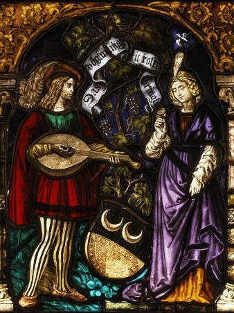 Musician and Lady, Stained Glass, Late 15th - early 16th Century Swiss
