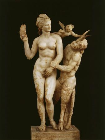 Aphrodite of the Sandal (Group Comprising Aphrodite, Cupid and Pan), Marble, c. 100 BC