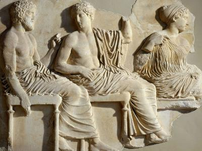 Poseidon, Apollo and Artemis, the Parthenon Frieze (East Side), c. 442-38 BC Classical Greek