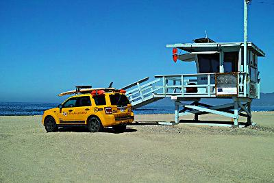 Yellow Life Gird Track at Beach