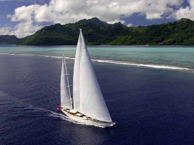 """Sy """"Adele"""", 180 Foot Hoek Design, Underway Close to the Reef Off Huahine Island, French Polynesia"""
