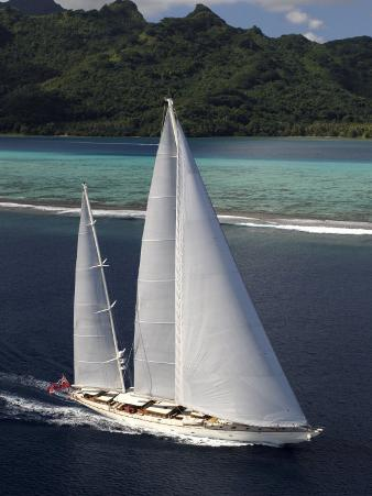 "Sy ""Adele"", 180 Foot Hoek Design, Underway Close to the Reef Off Huahine Island, French Polynesia"